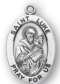 Sterling Silver Oval Shaped St. Luke Medal by HMH | Catholic Shopping .com