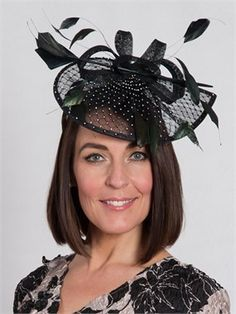 Black Diamante Detail Fascinator for the mother of the bride.