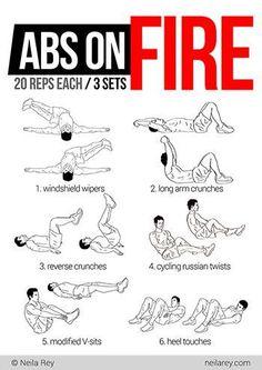 Abs on fire workout abs fitness egzersizleri, sağlıklı spor aktiviteleri, e Fitness Workouts, Easy Workouts, At Home Workouts, Fitness Tips, Fitness Motivation, Health Fitness, Workout Routines, Health Exercise, Workout Exercises