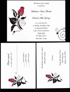 200 Personalized Custom Black and Red Rose 2 Wedding Invitations Set