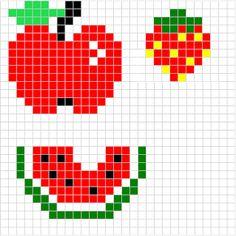 Fruits (Apple, Strawberry, Watermelon) - Free Hama Perler Bead Pattern or Cross Stitch Chart Mini Cross Stitch, Beaded Cross Stitch, Cross Stitch Borders, Crochet Cross, Cross Stitching, Cross Stitch Embroidery, Cross Stitch Patterns, Crochet Chart, Hama Beads Patterns