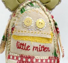 little mitten... vintage softie with embroidery by grrl+dog