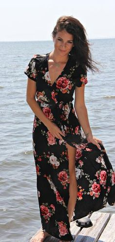 Floral wrap maxi dress from the Sydney Rae James Favorites Collection with sugarloveboutique.com