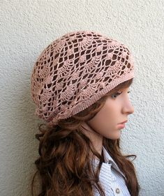 8c6665110d8 Items similar to Women s Crochet old pink Summer boho hat slouchy hat  Summer slouchy beret hat 100% Linen tams hat Women s Summer hat Women s  Slouchy Hat on ...