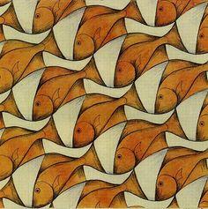 Escher-fish and boats figures Mc Escher, Escher Art, Tessellation Art, Op Art Lessons, Tesselations, Middle School Art, Dutch Artists, Fish Art, Optical Illusions
