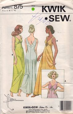 Kwik Sew 875 1970s  Misses Empire Waist V Neck Nightogown womens vintage negligee sewing pattern by mbchills on Etsy