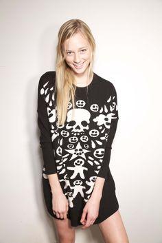 Devastee Skulls Sweater Dress (Dagny and Barstow on Bowery)