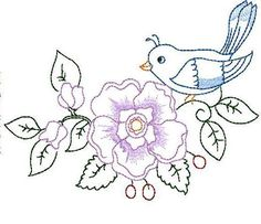 Simple Embroidery Patterns for Beginners   Embroidery: Bird and Flower Hand Embroidery 3 Sizes