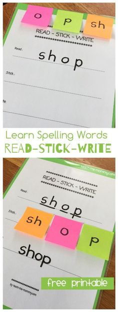 Read, Stick, Write method to learn spelling words! A hands-on method for students to practice spelling. Spelling Word Activities, Spelling Word Practice, Teaching Sight Words, Phonics Activities, Spelling Words, Learn Spelling, Writing Activities, Vocabulary Games, Vocabulary Strategies