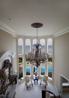 Lakefront Home 004 traditional Bay Window Curtains, Lakefront Homes, Chandelier, Windows, Ceiling Lights, Traditional, Home Decor, Candelabra, Decoration Home