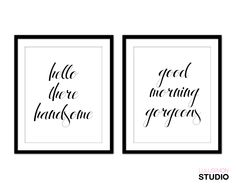Wall Art Set Hello There Handsome Good Morning Gorgeous Of 2 Two Piece Posters Watercolor Print A3 A4 Sets
