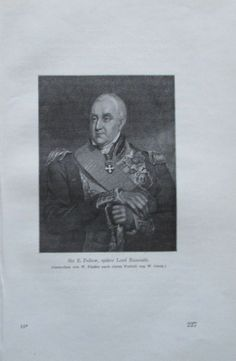 SIR PELLEW LORD EXMOUTH 1914 Porträt alter Druck antique Print Lithographie