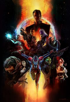 Mass Effect 2 classic movie poster painting