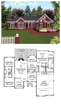 European House Plan 92421 | Total living area: 1992 sq ft, 3 bedrooms & 2.5 bathrooms. The Kitchen unites a cozy Breakfast Nook and a Dining Room with a tray ceiling. #houseplan #european by sonya
