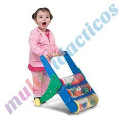 Robusto sonajero de empuje que suena con los primeros pasos del niño. Piezas de diferentes colores giran dentro de tres cilindros transparentes. Construido de madera puede moverse hacia delante o hacia atrás. #Bebes #Infantil #Juegos #juguetes http://www.multididacticos.com