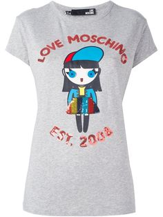 LOVE MOSCHINO sequin embellished T-shirt. #lovemoschino #cloth #t-shirt