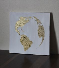 Items similar to Hand painted map of the world- White and Bronze-Ready to Ship on Etsy The Last Supper Painting, Gold Leaf Art, Map Painting, Foil Art, Contemporary Apartment, Sky Art, Old Paper, Canvases, Art Inspo