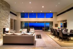Artistic Modern House Design in a Sleek Rectilinear Structure : Outstanding Nice Room Designs Combination Living Room And Dining Room Ideas With Wooden Long Table And Puffy Sofabed ~ wegli Living Room Color Schemes, Paint Colors For Living Room, Room Colors, Room Paint, Living Room Modern, Living Room Designs, Living Spaces, Living Rooms, Luxury Rooms