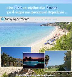 Πάρε μέρος στο διαγωνισμό του Sissy Apartments και κέρδισε μία εβδομάδα διακοπών στην όμορφη Κεφαλλονιά!!!  http://www.mediasystems.gr/diagonismos-sissy-apartments-me-doro-mia-evdomada-diakopes-sth-fantastiki-kefalonia/
