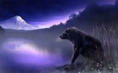 Widescreen wolf art wallpaper (Edson Grant 2560 x 1600)