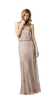 Style#: 091866700          Colors: Taupe/Pink          Description: Long Blouson Dress                    Sizes: M (2-16), P (2-12)