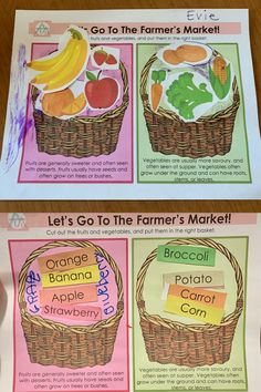 Easy printable activity with pictures or words Fruits And Vegetables, Veggies, Learning Centers, Farmers Market, Preschool, Basket, Printables, Activities, Garden