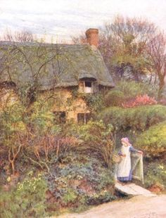 One of Lord Tennyson's Cottages, Farringford (by Helen Allingham) [woman at gate]