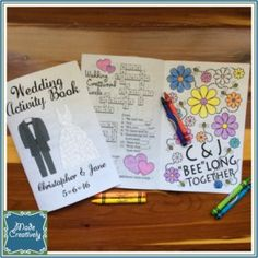 Wedding Activity Book | MadeCreatively | Keep the kiddos at your wedding entertained with this engaging Wedding Activity Book! The book includes coloring pages, tic-tac-toe, word search and crossword puzzles, and more. Personalize the cover and puzzles with the names of the bride and groom! #MadeCreatively