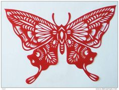 Butterfly / Vlinder /Chinese Paper Cut /Decoupis Chinois / 18 x 13 cm | For sale on Delcampe