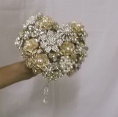 Brooch Bouquet - Heart shaped Brooch Bouquet with Gold tone and Silver tone…