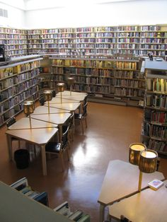 Rovaniemi Library was designed by Alvar Aalto. It has small collections at a lower level than the main floor to create reading nooks with distinctive furniture.