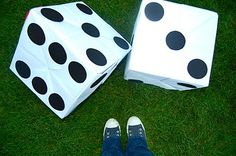 Giant Die!! Perfect for a summer party out on the lawn. Imagine playing House of Fire or Pirates Dice...oh, yeah.