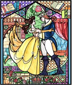belle and prince adam, beauty and the beast, disneyland park, stained glass, the magic the memories and you