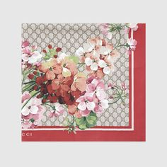 Gucci Women - Gucci GG Red and Light Brown Blooms print silk scarf - $440.00