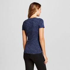 Women's Heather Fitted Crew T-Shirt Navy Heather X - Merona, Size: Small