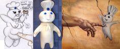"""Muñequito plástico coleccionable-1971 Pillsbury Doughboy (en español Masin o Poppy Fresco) de 7½"""" de alto / Collectibles advertising & signs: The Pillsbury Dough boy figurine ~ 1971 vintage Pillsbury Doughboy doll toy figure white & blue ~ Very cute Pillsbury collectible doll from the '70's!"""