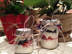 Breakfast at the HB 4th of July parade...large and mini yogurt parfaits in a mason jars