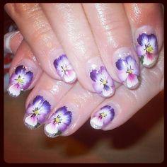 one stroke flowers - Nail Art Gallery