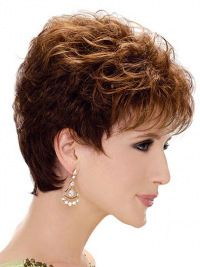 Diyouth High Quality Romance Curl Hand Made AAA Synthetic Hair Short Yellow Wigs Short Permed Hair, Short Human Hair Wigs, Permed Hairstyles, Curly Short, Long Pixie Cuts, Short Pixie, Short Hair With Layers, Short Hair Cuts For Women, Haircut For Older Women