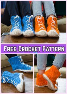 Crochet Hi-Top Slippers Free Crochet Pattern for Ladies
