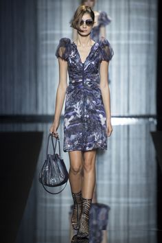 Shades of Purple Dress with a V Neck and Sheer Short Puff Sleeves by Giorgio Armani, Look #18