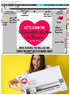 Silhouette Love -Learn the silhouette studio software - A girl and a glue gun Silhouette Cameo Vinyl, Silhouette Cameo Software, Silhouette Cameo Tutorials, Silhouette School, Silhouette Cutter, Silhouette Curio, Silhouette Machine, Silhouette Design, Silhouette Portrait Projects