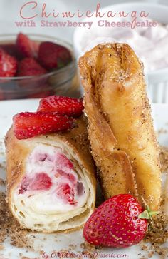 Strawberry Cheesecake Chimichangas - OMG Chocolate Desserts