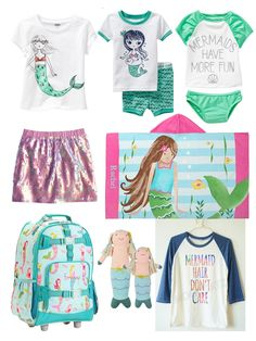 Mermaid attire for the summer...so cute! Even a cute shirt for Mama!