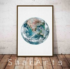 Planet Print Star Poster Eart Wall Art Moon Phases by ShakArts