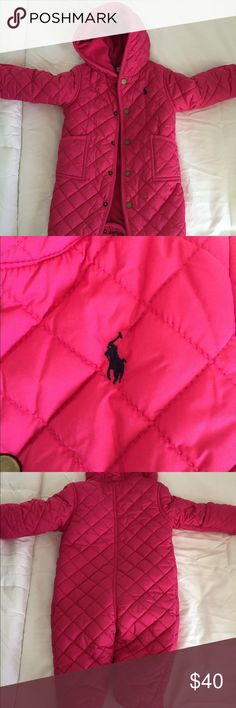 Ralph Lauren baby one piece coat Pink quilted one piece snow suit, flannel lining, with full button closure , and flap over mittens attached to sleeves. Keeps baby warm and toasty 😊 Ralph Lauren Jackets & Coats Puffers