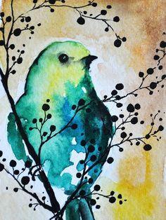 Original Watercolor and Ink ACEO Green Bird in a by AbstractArtM