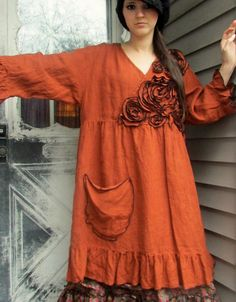 Rose Pocket Babydoll Dress by sarahclemensclothing on Etsy