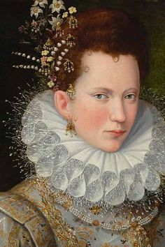 ▴ Artistic Accessories ▴ clothes, jewelry, hats in art - Lavinia Fontana | Portrait of a Lady, c. 1590 Women's Jewelry - http://amzn.to/2j8unq8