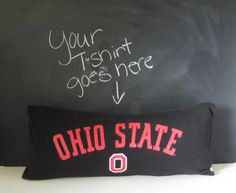 Dorm Room Pillow. Upcycled TShirt Pillow by SmiLeaGainCreations, $18.00
